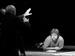 "Спектакль: <b><i>Кураж</i></b><br /><span class=""normal"">режиссер— Михаил Левитин<br />Солдаты— Виктор Непомник<br /><i>Репетиция</i><br /><span class=""small"">© Ирина Параскевова</span></span>"